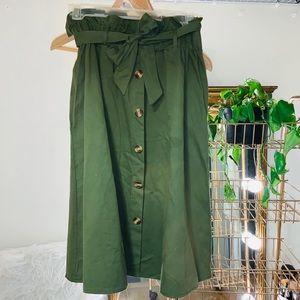 Paper Bag Waist Faux Button Skirt
